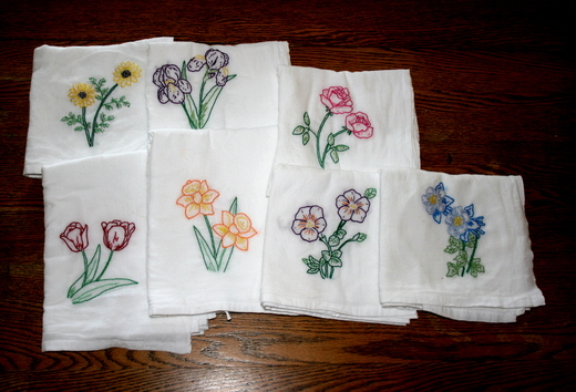shades of white: embroidered dish towels